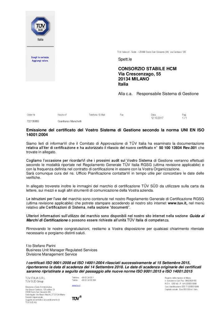 Lettera CONSORZIO STABILE HCM-001